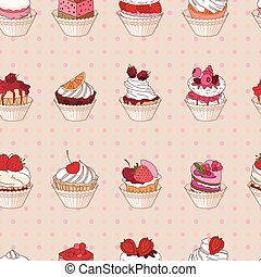 Seamless pattern with different kinds of fruit dessert. Endless texture for your design, announcements, postcards, posters, restaurant menu.