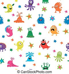 Seamless pattern with different monsters and stars