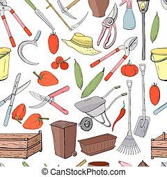 Seamless pattern with different objects and tools for gardening. Endless texture for season design