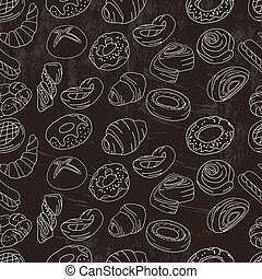 Seamless pattern with different  pastry.