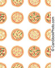 Seamless pattern with different pizza. Vector background. Cartoon stylized