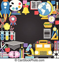 Seamless pattern with different school supplies on black chalkboard background. Decoration elements for Back to school holiday. Cut out paper style vector illustrtation.
