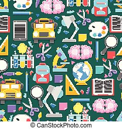 Seamless pattern with different school supplies on green cutting mat background. Decoration elements for Back to school holiday. Cut out paper style vector illustrtation.