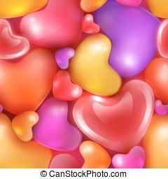 Seamless pattern with different sized hearts