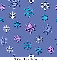 Seamless pattern with different snowflakes Christmas