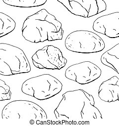 Seamless pattern with different stones. Black and white, contour