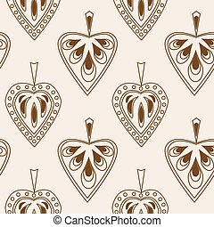Seamless pattern with different stylish leaves