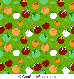 Seamless pattern with different tomatoes