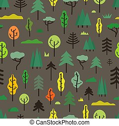 Seamless pattern with different trees