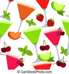 Seamless pattern with different cocktails and fruits