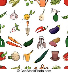 Seamless pattern with different vegetables and garden tools