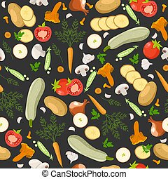 Seamless pattern with different vegetables. Vector graphics.