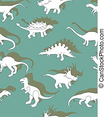 seamless pattern with dinosaurs, dinosaurs white silhouettes on a green background,