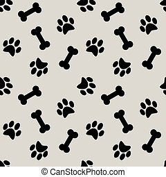 seamless pattern with dog  paw, background