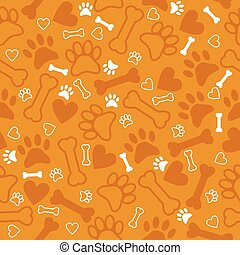 Seamless pattern with dog paw print, bone and hearts. Orange bac