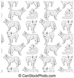 seamless pattern with dogs. Shepherd. Sketch drawing. Black contour on a white background. vector