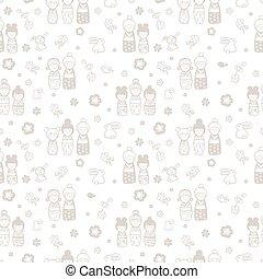 seamless pattern with dolls kokeshi