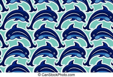Seamless pattern with dolphins - ornamental background.