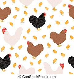 Seamless pattern with domestic birds or farm poultry on white background - cock and chicken, rooster, hen and chicks. Cartoon hand drawn vector illustration for wrapping paper, textile print.