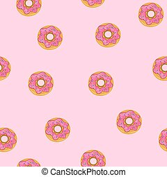 Seamless pattern with donuts on a pink background. Vector graphics.