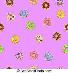 Seamless pattern with donuts on a purple background. Vector graphics.