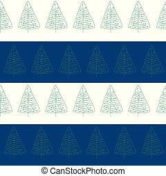 Seamless pattern with doodle Christmas trees