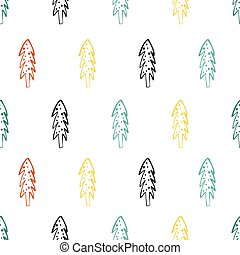 Seamless pattern with doodle Christmas trees. Winter background