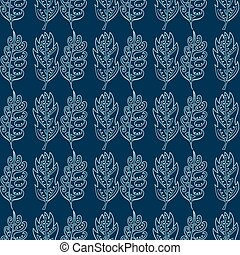 Seamless pattern with doodle fantazy leaf-4