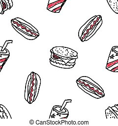 Seamless pattern with doodle fast food