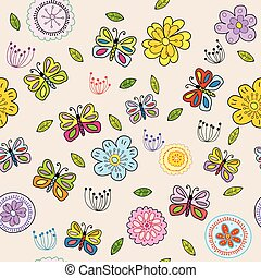 Seamless pattern with doodle flowers and butterflies