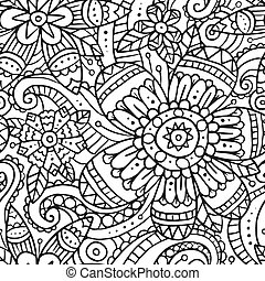 Seamless pattern with doodle flowers in black and white