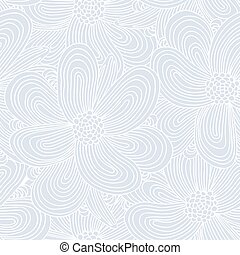 Seamless pattern with doodle flowers silhouettes. Hand drawn background