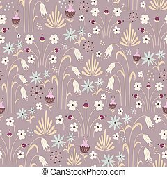 Seamless pattern with doodle flowers. Vector illustration.