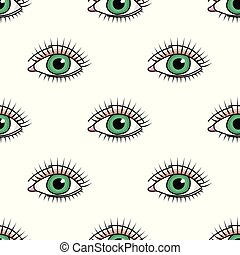 Seamless pattern with doodle green eye