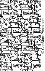 Seamless  pattern with doodle house