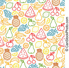 Seamless pattern with doodle juicy fruits