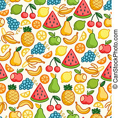 Seamless pattern with doodle juicy fruits in color