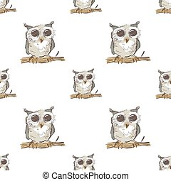 Seamless pattern with doodle owl