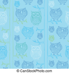seamless pattern with doodle owls