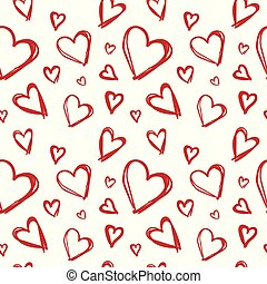Seamless Pattern With Doodle Red Hearts Valentines Day Background