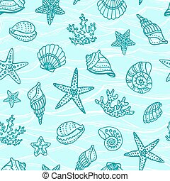 Seamless pattern with doodle sea creatures.