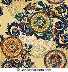 Seamless pattern with doodles and cucumbers - Ornamental...