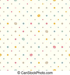 seamless pattern with dots - Colorful polka dots on white...