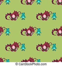 seamless pattern with dragon and the bear