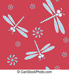 Seamless pattern with dragonfly