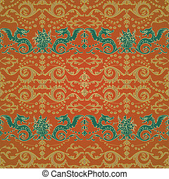 Seamless pattern with dragons