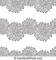 seamless pattern with drawing of dahlia flower. Element for...