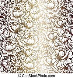 seamless pattern with drawings of peonies