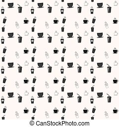 Seamless pattern with drink tea and coffee cups. Coffee break tiling background.