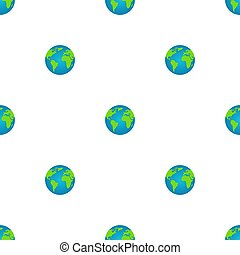 Seamless pattern with earth globe on white background. World map. Earth icon. Vector illustration for design, web, wrapping paper, fabric, wallpaper